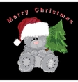 Santa teddy bear isolated with fir on black vector image