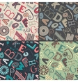 set four color variations seamless patterns vector image