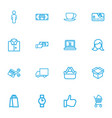 set of 16 editable trade outline icons includes vector image vector image