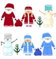 set of Christmas Santa Claus snow maiden snowman vector image