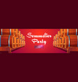 sommelier party banner with wine barrels vector image
