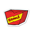 sticker of a cartoon noodle box vector image