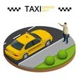 Taxi service 24h concept Young man raising her vector image vector image