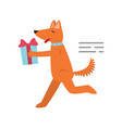 ute cheerful orange dog is having fun and having vector image vector image