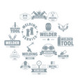 welding logo icons set simple style vector image vector image
