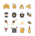 yellow honey and bee icons set vector image vector image