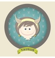 Zodiac signs collection Cute horoscope - TAURUS vector image vector image