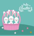 happy easter bunnies in basket decorative vector image