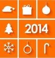 Icons set of new year 2014 on orange background vector image