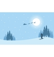 At night train Santa Christmas scenery vector image vector image