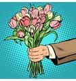 bouquet tulips flowers gift vector image