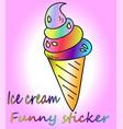 cartoon ice cream sticker vector image vector image