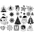 Christmas doodle icons vector image vector image