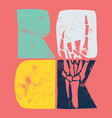 color rock with a skeleton hand vector image vector image