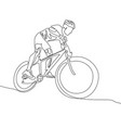 continuous one line cyclist in a helmet riding vector image vector image