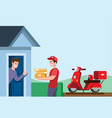courier boy delivery package to customer using mot vector image vector image