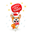 cute dog with happy new year inscription smiling vector image