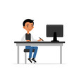 cute young guy sitting at desk and working on vector image