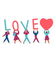 diverse tiny people carry letters love and heart vector image vector image