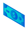 dollar banknote icon isometric style vector image vector image