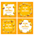 emoji frames funny square backgrounds with comic vector image