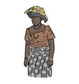 fat african woman with local costume vector image vector image