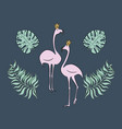 flamingo princess with bird with monstera leaf set vector image
