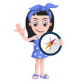 girl with compas on white background vector image vector image