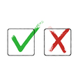 Grunge checkmarks in checkbox Red and green vector image vector image