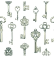 Hand-drawn seamless pattern of various vintage vector image
