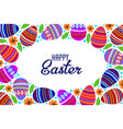 happy easter cartoon cute eggs and doodle flowers vector image vector image