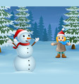 happy little girl waving and laughing with a snowm vector image vector image