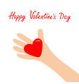 happy valentines day hand arm holding red shining vector image vector image