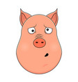 head of clueless pig in cartoon style kawaii vector image vector image