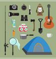 hiking equipment set vector image vector image