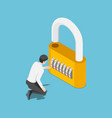 isometric businessman unlock lock success vector image vector image