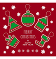 Merry Christmas and New Year labels in green red c vector image vector image