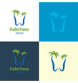 palm trees dental logo and icon vector image