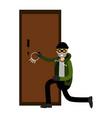 professional burglar character breaks the door vector image vector image