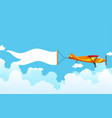 retro airplane with a banner biplane aircraft vector image