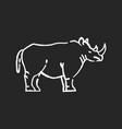rhinoceros chalk white icon on black background vector image