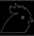 rooster head the white path icon vector image vector image