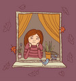 sad girl looking in the window autumn vector image vector image