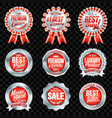 set of excellent quality red badges with silver vector image vector image