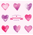 Set of Hearts - hand drawn in Watercolor vector image