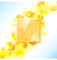 Shiny yellow geometric background with glass panel vector image