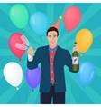 smiling handsome man holding holding champagne vector image vector image