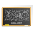 social media hand draw integrate icons set vector image
