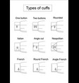 types of cuffs vector image