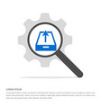 upload icon search glass with gear symbol icon vector image